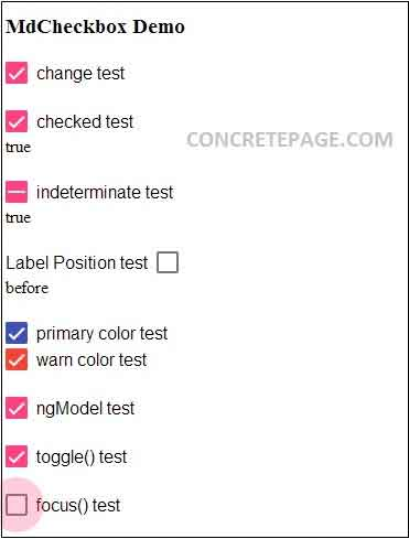 Angular Material Checkbox Example
