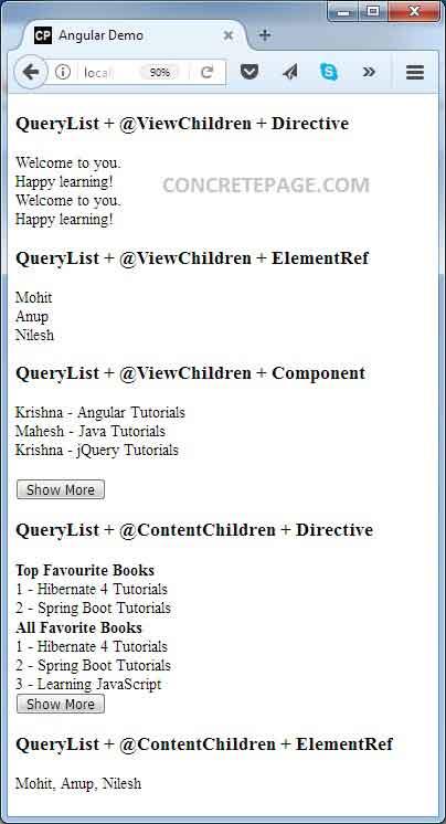 Angular 2/4 QueryList Example