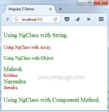 Angular 2 NgClass Example