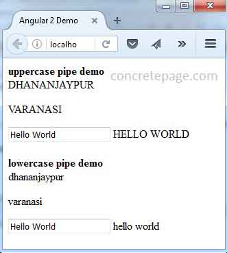 Angular 2 UpperCase Pipe and LowerCase Pipe Example