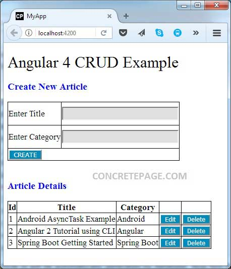 Angular 4 CRUD Example