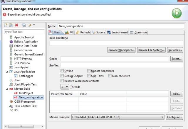 Eclipse Run Configuration for Maven Goals