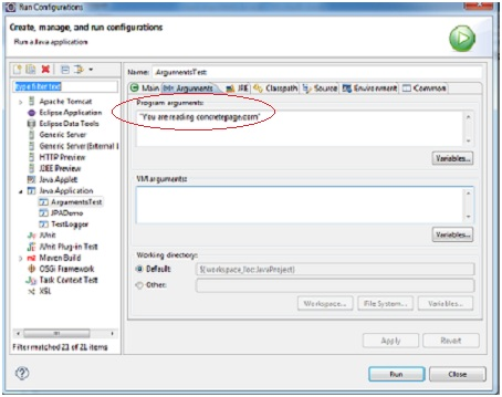 How to Pass Command Line Arguments to Java Program in Eclipse