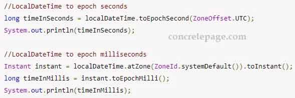 Convert between Java LocalDateTime and Epoch