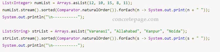 Java Comparator.naturalOrder