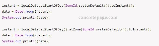 Java LocalDate to Date