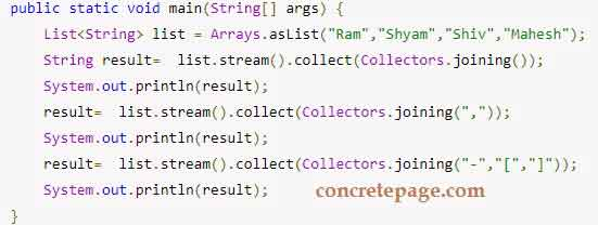 Java 8 Collectors: joining() Example