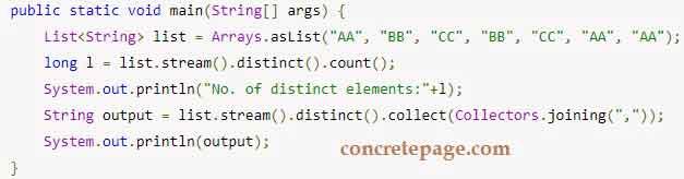 Java 8 Distinct Example
