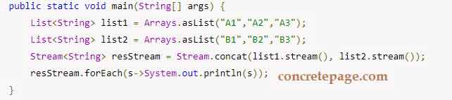 Java 8 Stream: concat, count, sorted and distinct Example
