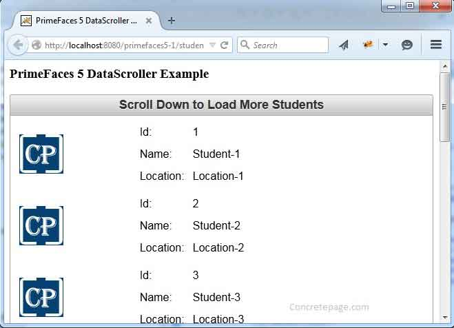 PrimeFaces 5 DataScroller Example