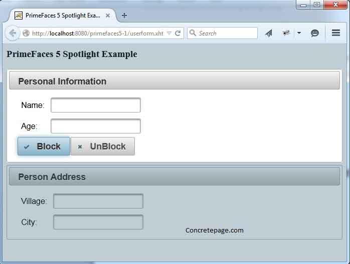 PrimeFaces 5 Spotlight Example