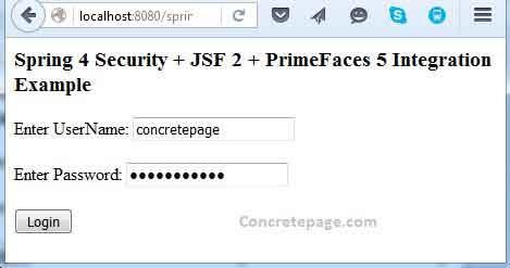 Spring 4 Security + JSF 2 + PrimeFaces