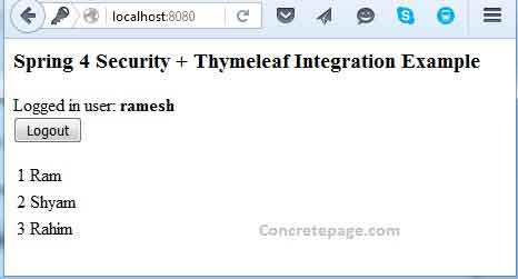 Spring Security + Thymeleaf Login and Logout Example
