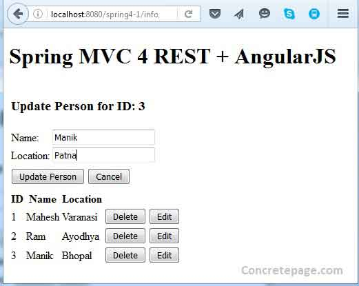 Spring MVC 4 REST + AngularJS + Hibernate 4 Integration CRUD