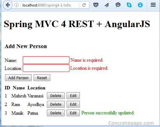 Spring Mvc 4 Rest Angularjs Hibernate 4 Integration Crud