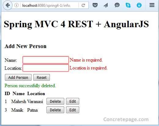 Spring MVC 4 REST + AngularJS + Hibernate 4 Integration CRUD