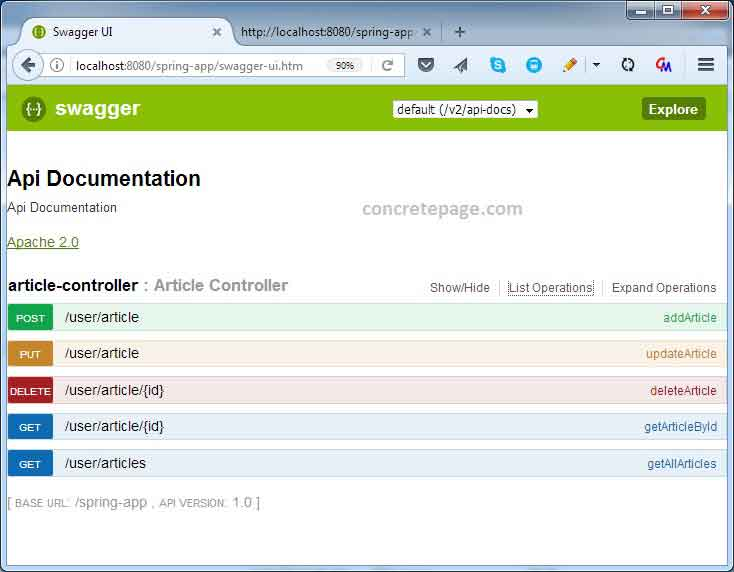 Spring rest swagger 2 integration with annotation xml for Rest api documentation template