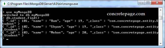 Spring Data MongoTemplate Example