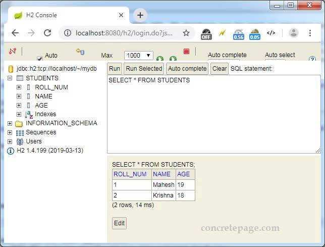 Spring Boot + H2 Database