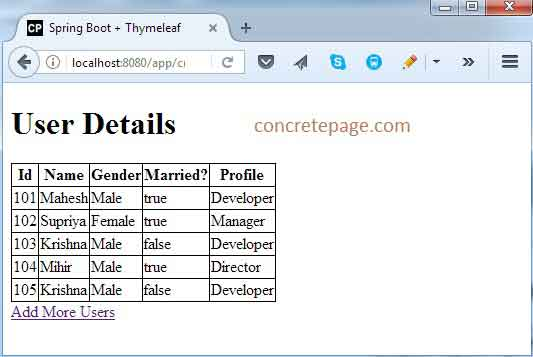 Spring Boot Thymeleaf Maven Example