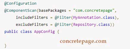Spring Component Scan Include and Exclude Filter Example